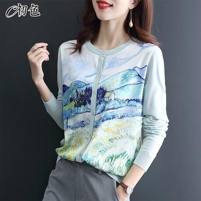 初色  時尚印花針織雪紡衫-共3色-(M-2XL可選)