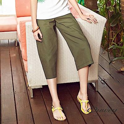 OUWEY歐薇舒適好搭輕薄純棉寬褲綠