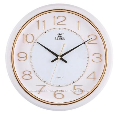POWER霸王鐘錶-金屬感設計靜音掛鐘-夕陽金-PW-8212-WKS-32.4CM