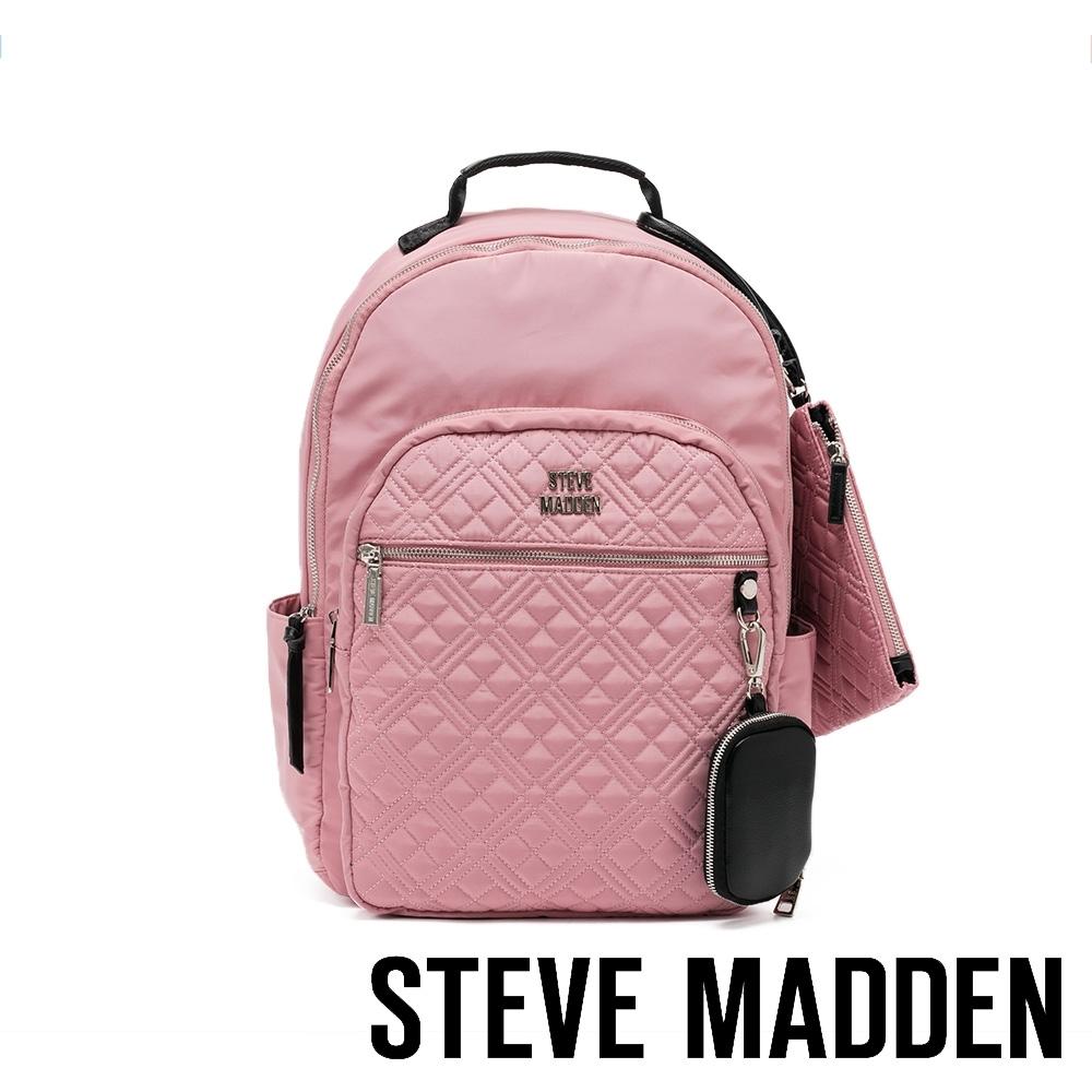 STEVE MADDEN-BGOWDY 菱格造型多收納輕量後背包-粉紅色