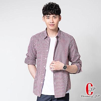 Christian時尚質感格紋襯衫_紅白格(RW802-18)