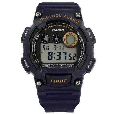 CASIO 卡西歐 計時電子橡膠手錶-深藍色 W-735H-2A 48mm