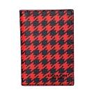 COACH紅黑千鳥紋內真皮雙摺證件/票卡夾