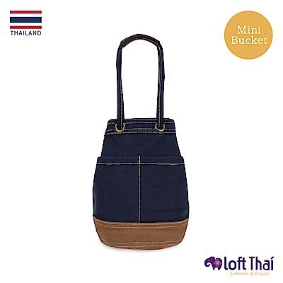 Loft THAI | 泰.兩用帆布水桶包(小) | Navy/brown