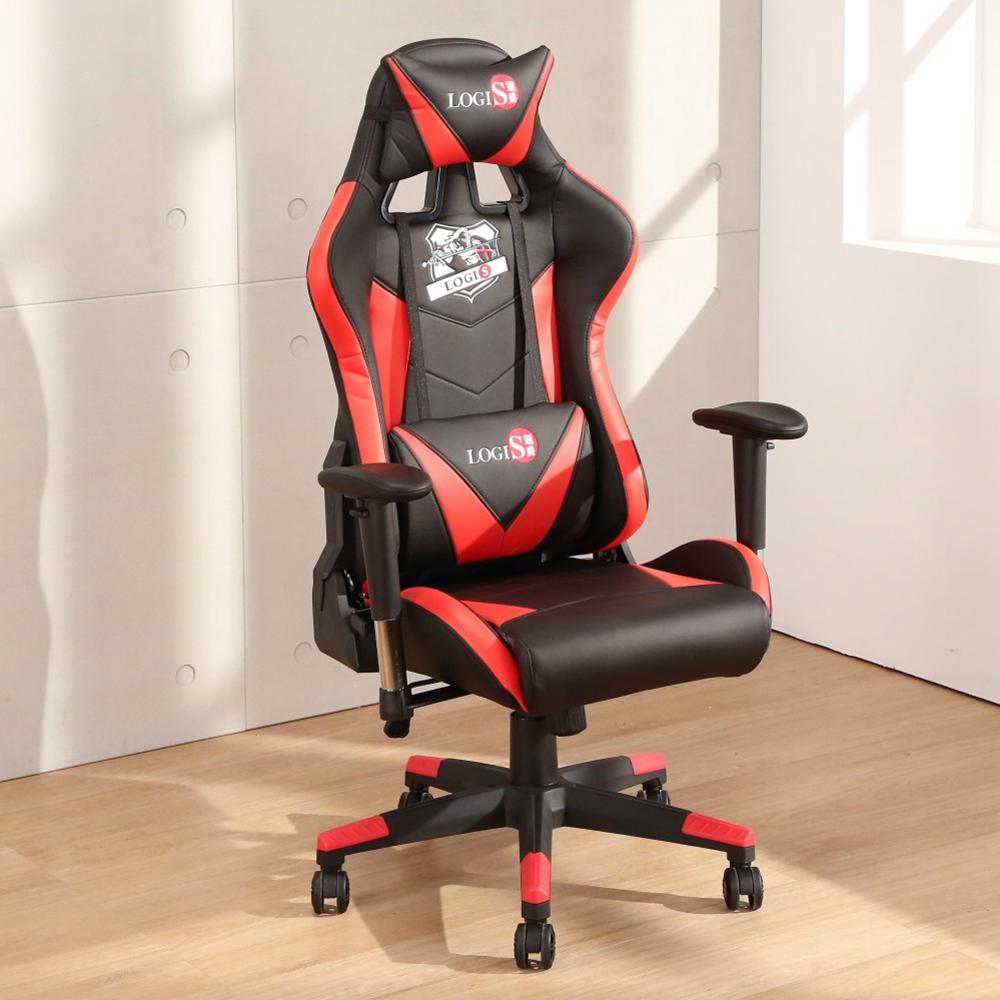 LOGIS  大將紅黑色全皮面電競椅 電腦椅 主管椅 賽車椅 皮椅