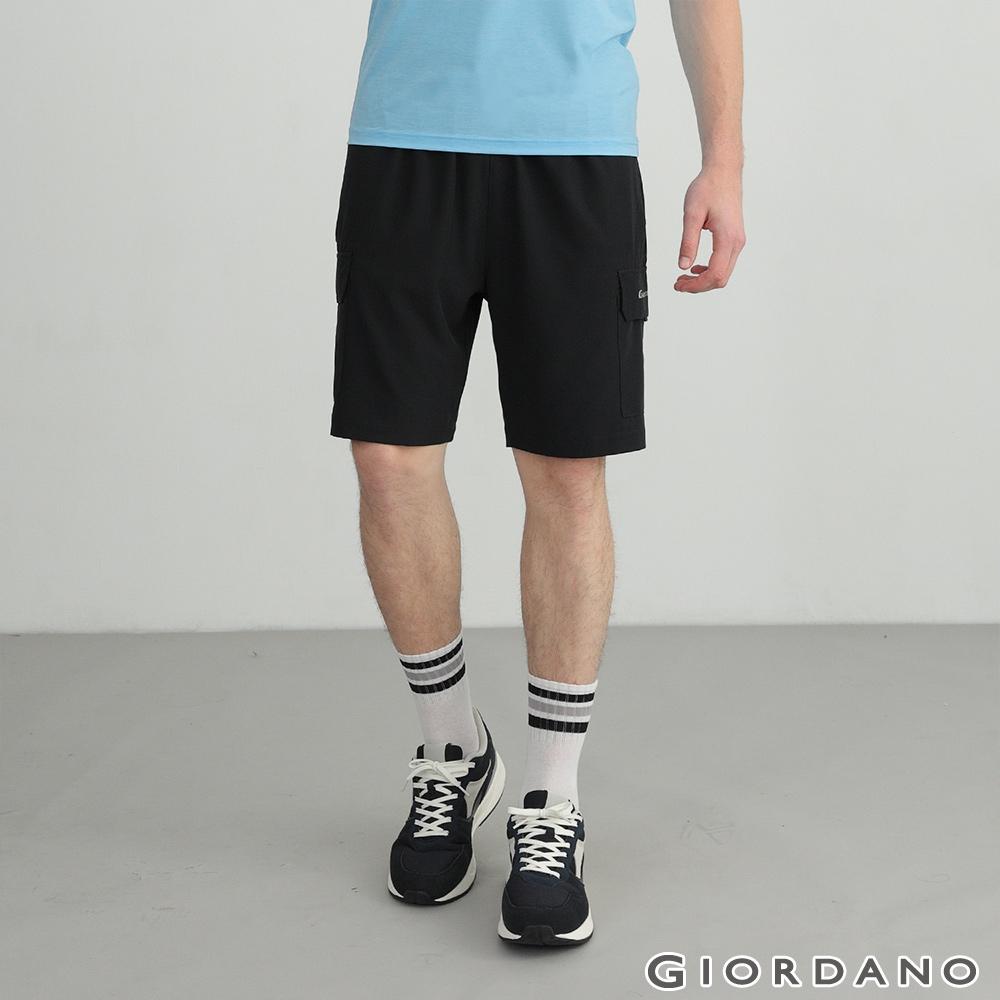 GIORDANO 男裝3M工裝風內抽繩短褲 - 39 標誌黑
