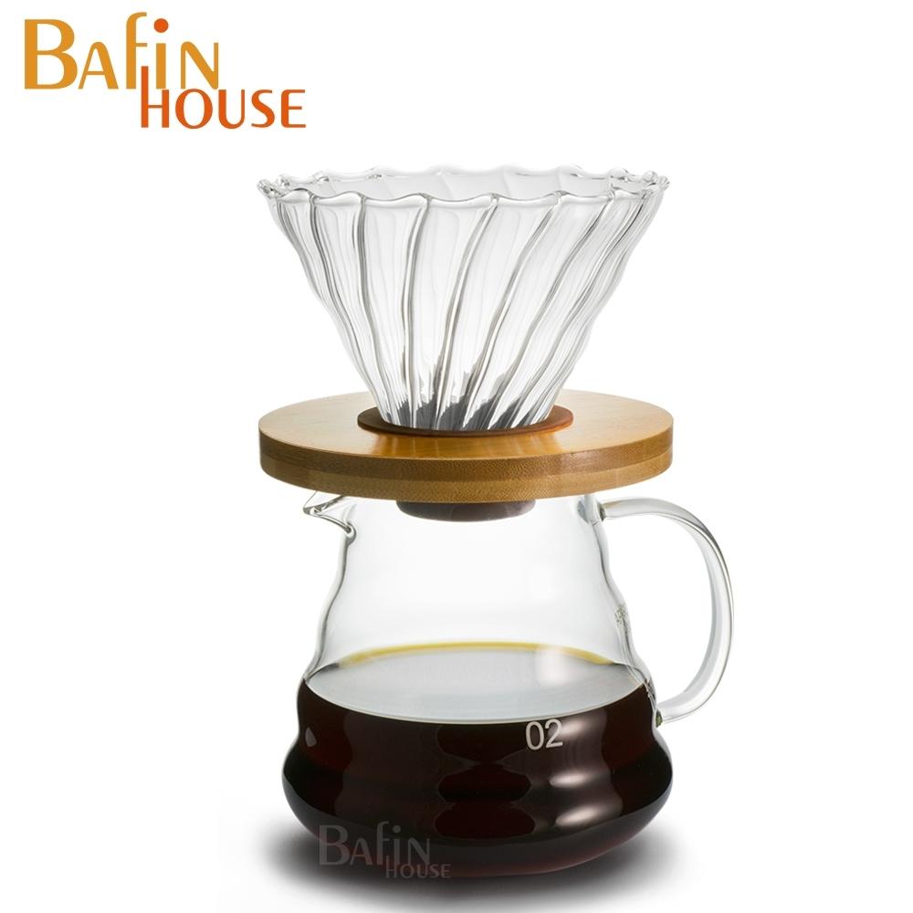 Bafin House 1~4人份V60竹木托盤玻璃濾杯及雲朵咖啡壺