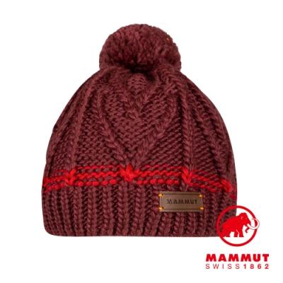 【Mammut 長毛象】Sally Beanie 保暖針織毛球羊毛帽 梅洛酒紅 #1191-00430