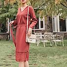 造型腰帶蕾絲裙襬拼接包芯紗細針織毛衣洋裝-OB大尺碼