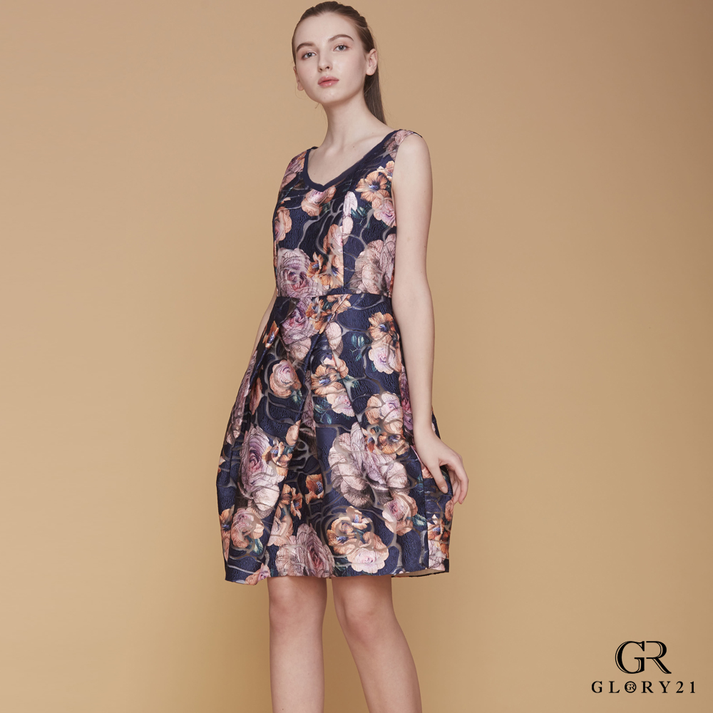 GLORY21 A-LINE合褶印花及膝裙-多色
