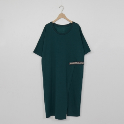 beartwo-珍珠點綴長版洋裝-墨綠