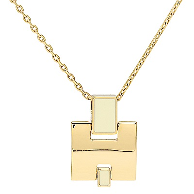 HERMES 經典Eileen系列弧面寬H LOGO琺瑯項鍊(米白X金)