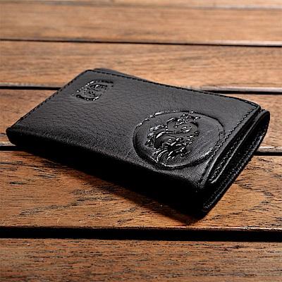 H-CT Wild Tribe系列折疊式龍紋浮雕真皮口袋夾/黑(WT157BD)