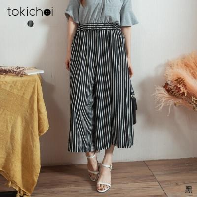 東京著衣 MIT小姐姐休閒腰鬆緊黑白直條顯瘦寬褲