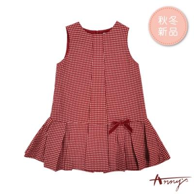 Annys安妮公主-經典紅白紋秋冬款百褶背心裙*8242紅色