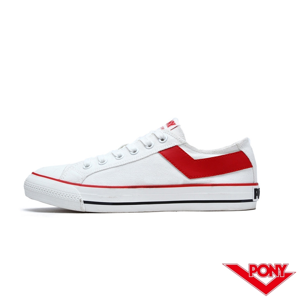 【PONY】Shooter系列百搭復古經典帆布鞋 白鞋 情侶 女鞋 白紅色