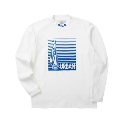FILA 男半高領T恤-白色 1TET-5700-WT