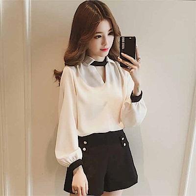 DABI 韓國風V領掛脖小心機設計皺雪紡襯衫長袖上衣