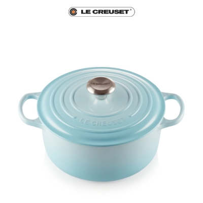 [結帳7折]LE CREUSET琺瑯鑄鐵典藏圓鍋22cm(水漾藍)鋼頭
