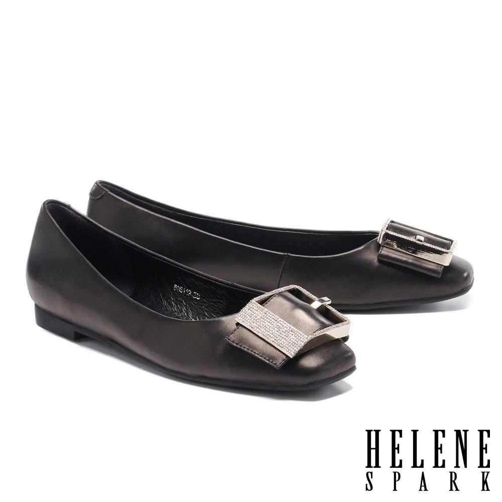平底鞋 HELENE SPARK 輕熟典雅白鑽方飾釦全真皮平底鞋-黑