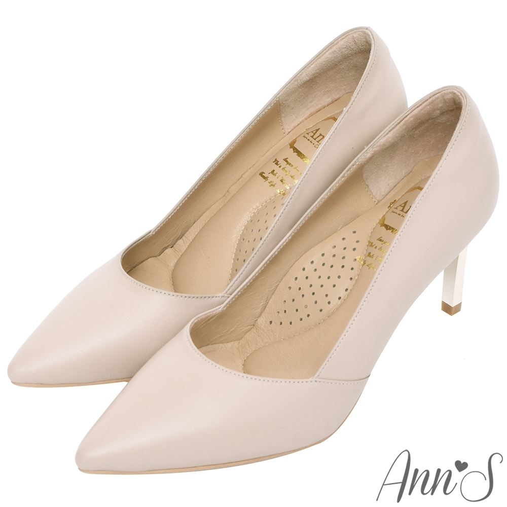 Ann'S嚮往的女人味-性感弧線柔軟小羊皮電鍍細跟尖頭高跟鞋-杏