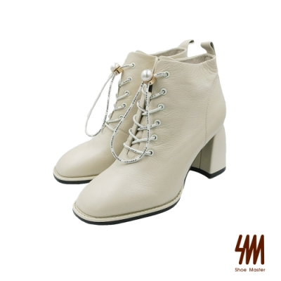 SM-Fashion珍珠鞋真皮高跟短靴-白色 (兩色)