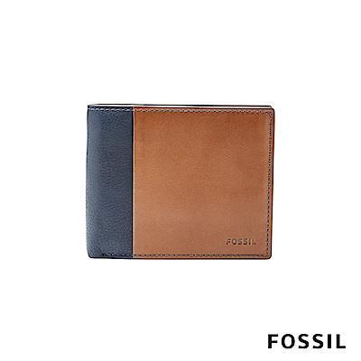 FOSSIL WARD 真皮 RFID男夾-撞色