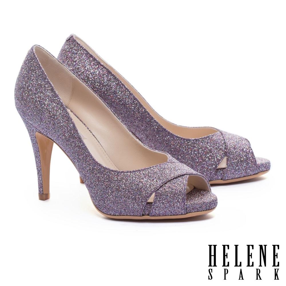 高跟鞋 HELENE SPARK 耀眼金蔥交叉魚口美型高跟鞋-紫