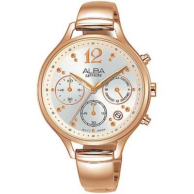 ALBA雅柏 俏麗時尚計時女錶(AT3F18X1)-玫塊金/36mm