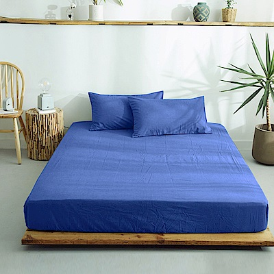澳洲Simple Living 加大300織台灣製純棉床包枕套組(普魯士藍)