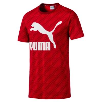 PUMA-男性流行系列No.1 Logo短袖T恤-大黃紅-亞規