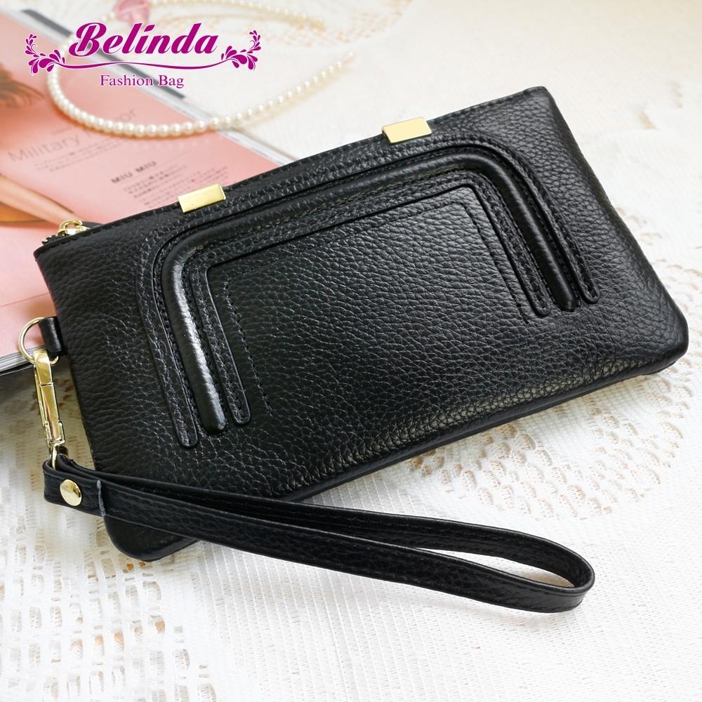 【Belinda】細緻質感真皮手拿包(黑色)(絕版出清)