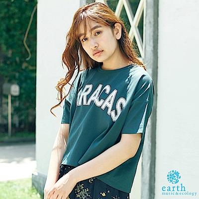 earth music 簡約字母拼接袖T恤/上衣