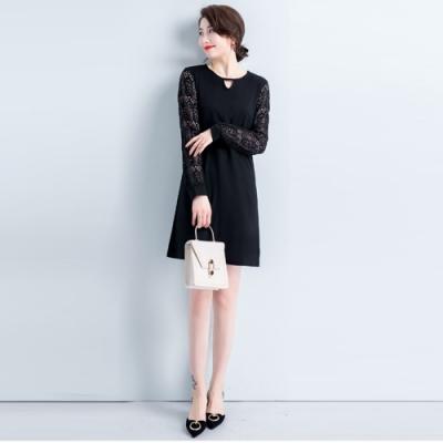 2F韓衣-韓系中大尺碼造型領蕾絲氣質洋裝-新(L-3XL)