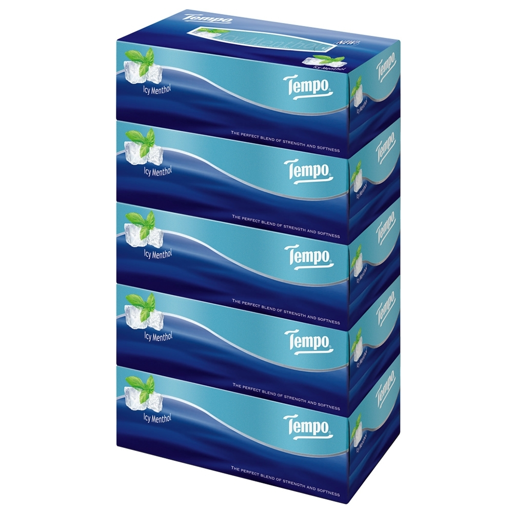Tempo三層盒裝面紙-冰爽薄荷 86抽x5盒/串