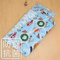 鴻宇 防蟎抗菌 可機洗被胎 兒童冬夏兩用睡袋 美國棉 精梳棉 噗噗車