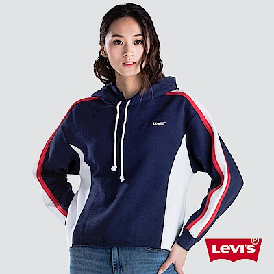 Levis 女款 中短版運動帽T 復古撞色邊條 刺繡字母Logo 深藍