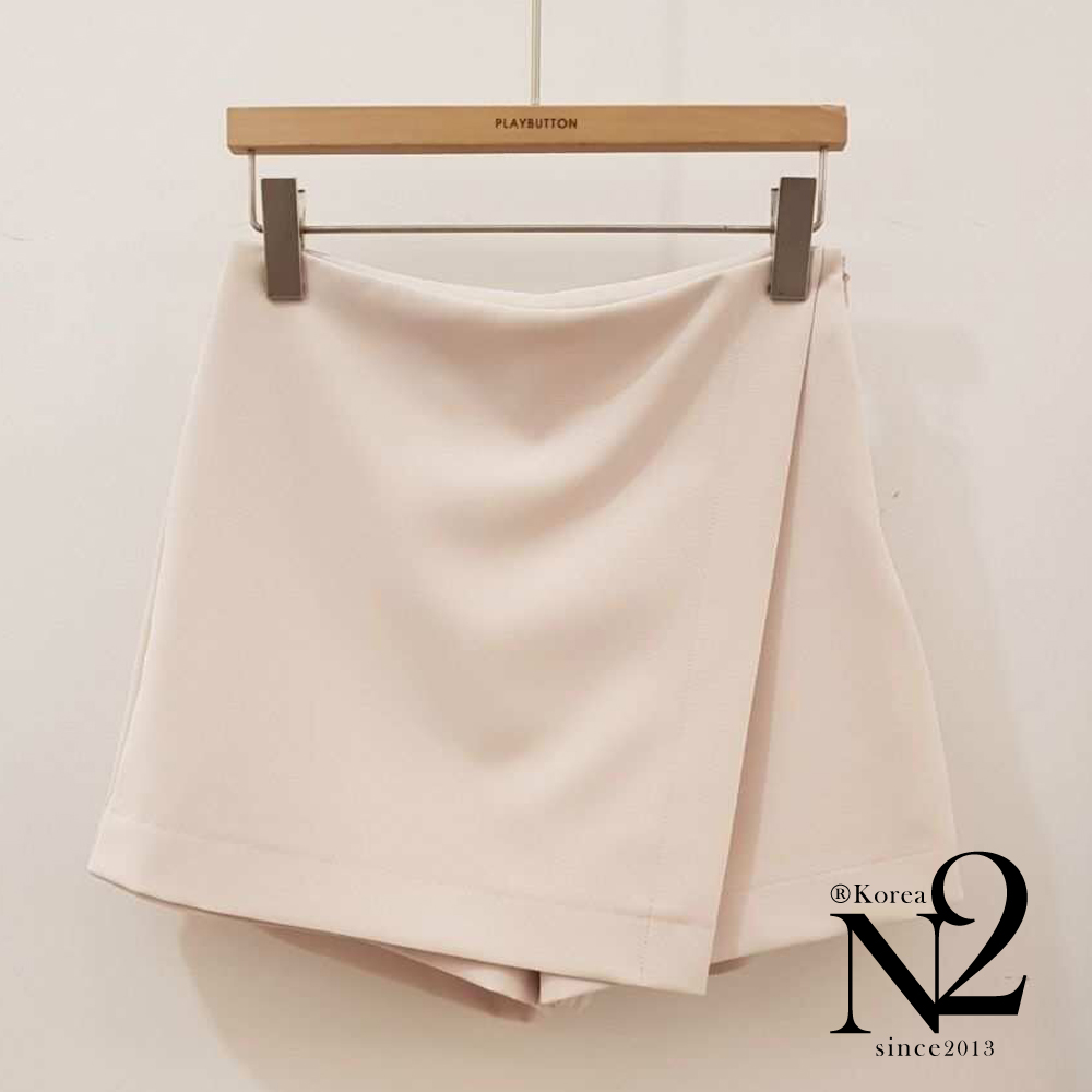 裙子 正韓素色隱形拉鍊顯瘦A字短褲裙-N2