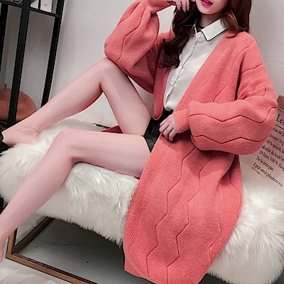 La Belleza水波紋包心紗燈籠袖開衫長版針織毛衣外套