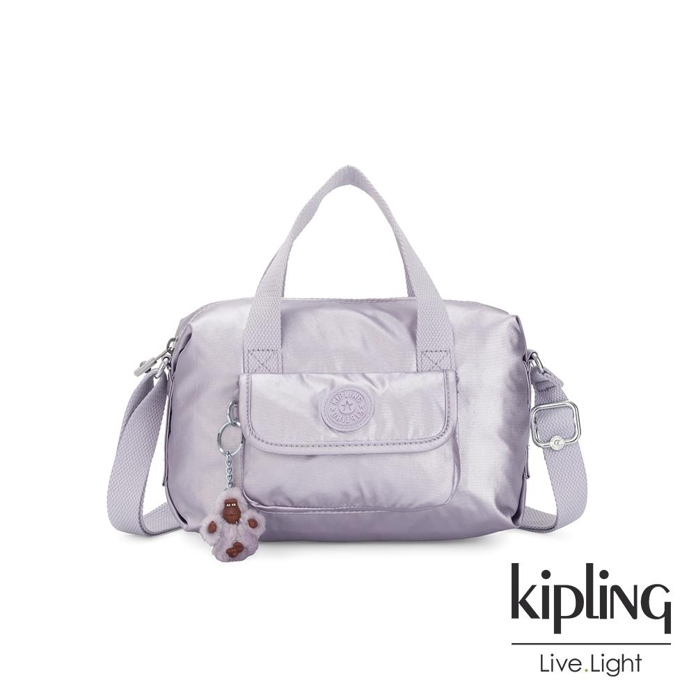 Kipling 時尚香檳淡雅紫波士頓手提兩用包-BRYNNE