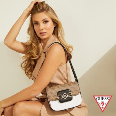 GUESS-女包-撞色拼接質感肩背方包--白 原價2690