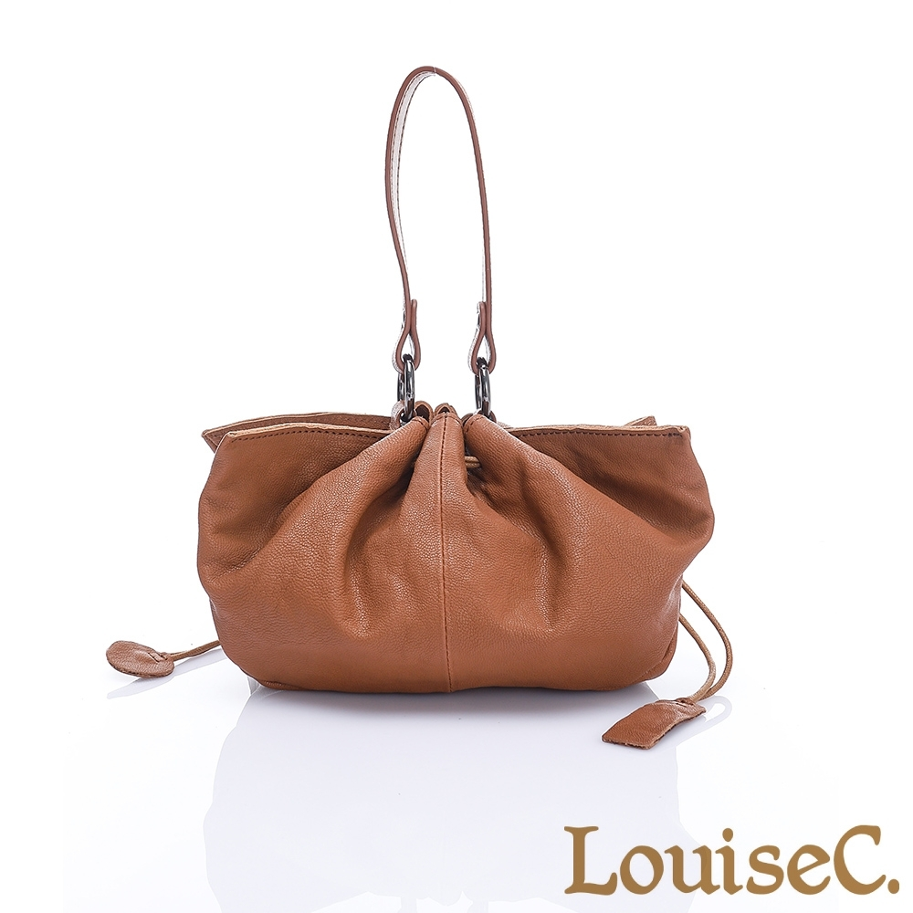 LouiseC. 時尚優雅羊皮造型手提包-焦糖駝-MWY2002