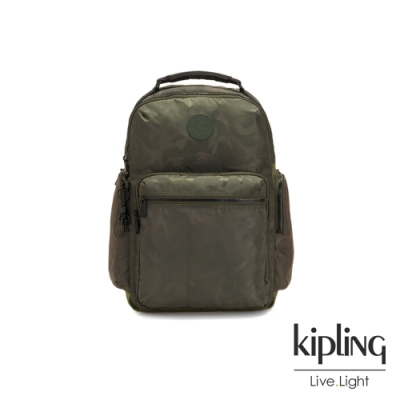 Kipling 迷彩緞灰大容量手提後背包-OSHO
