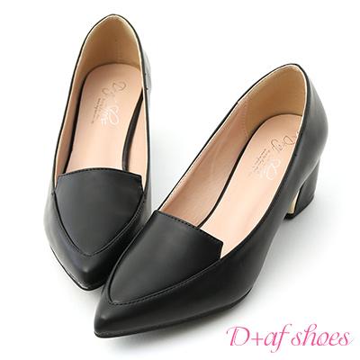 D+AF 知性風格.素面金屬跟尖頭跟鞋*黑