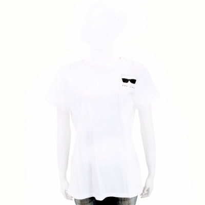 KARL LAGERFELD CHOUPETTE 卡爾 老佛爺 躲貓貓口袋白色短袖T恤