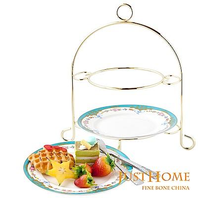 Just Home 藍色宮廷高級骨瓷雙層蛋糕盤附架