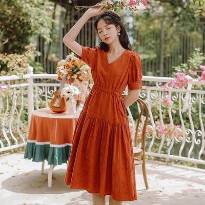法式古典V領腰間雙側抽繩洋裝S-L(共二色)-維拉森林