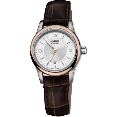 Oris Classic 古典系列品味時尚機械女錶-玫瑰金圈/28.5mm
