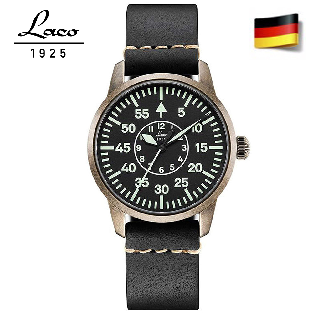 Laco 朗坤861885懷舊牛仔系列真皮夜光瑞士自動機械機芯錶女錶黑36mm
