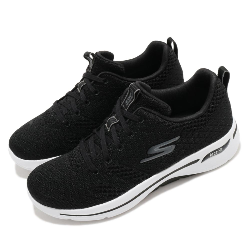 Skechers 休閒鞋 Go Walk Arch Fit 女鞋 專利鞋墊 足科醫生推薦 回彈 避震 黑 白 124403BKW